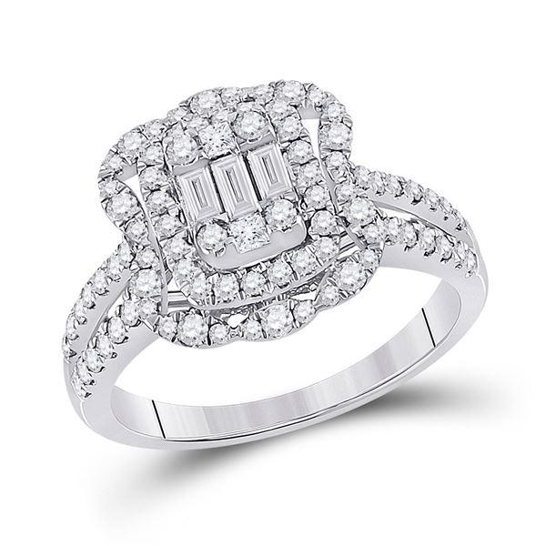 Baguette Diamond Cluster Ring 1 Cttw 14KT White Gold
