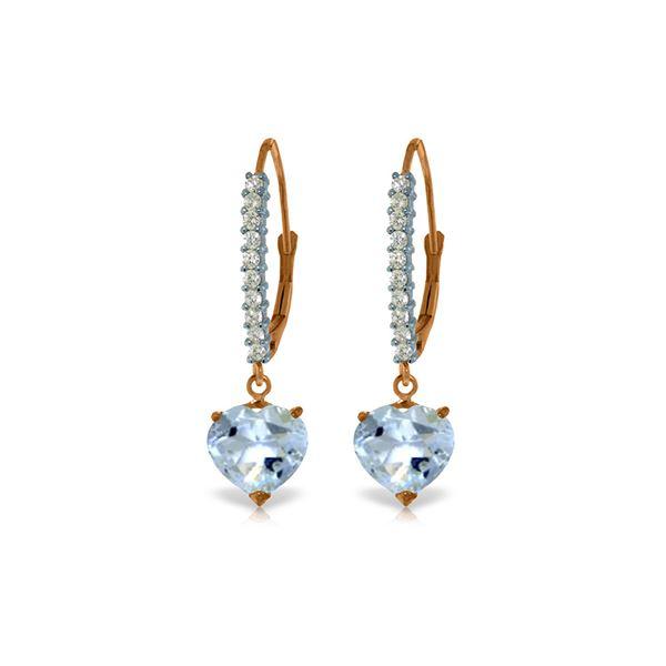 Genuine 3.55 ctw Aquamarine & Diamond Earrings 14KT Rose Gold - REF-66Y2F