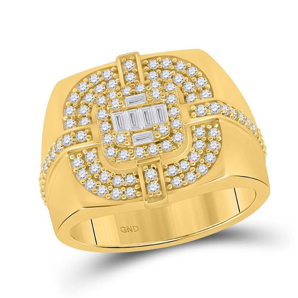 Round Diamond Square Cluster Ring 1 Cttw 14KT Yellow Gold