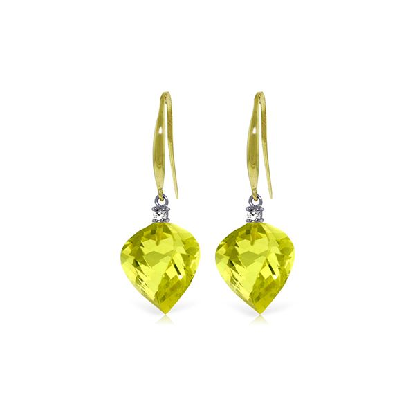 Genuine 21.6 ctw Lemon Quartz & Diamond Earrings 14KT Yellow Gold - REF-46N7R
