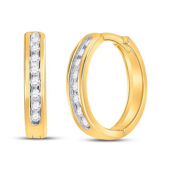 Round Diamond Hoop Earrings 1/4 Cttw 10KT Yellow Gold