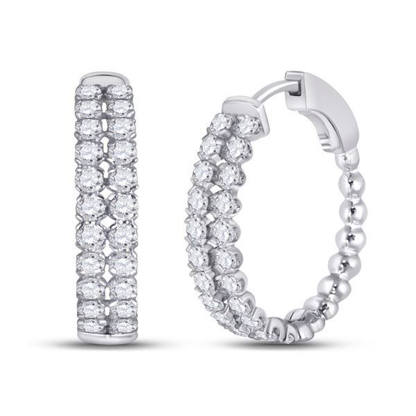 Round Diamond Double Row Hoop Earrings 2 Cttw 14KT White Gold