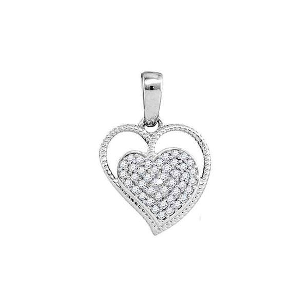 Round Diamond Heart Milgrain Pendant 1/10 Cttw 10KT White Gold
