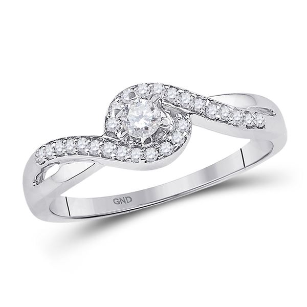 Round Diamond Solitaire Swirl Promise Ring 1/5 Cttw 10KT White Gold