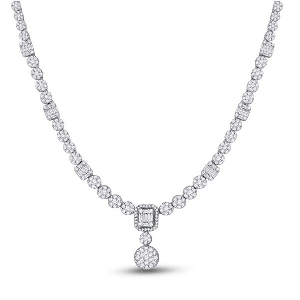 Round Diamond Luxury Cluster Necklace 9-1/4 Cttw 14KT White Gold