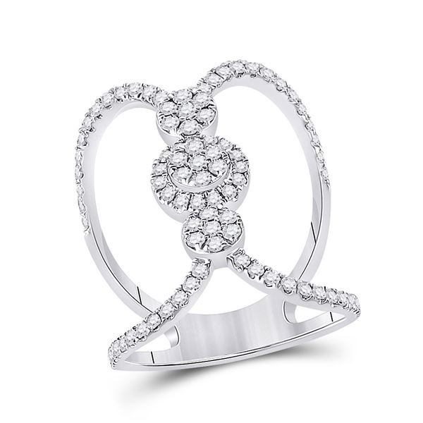 Round Diamond Negative Space Cluster Ring 7/8 Cttw 14KT White Gold
