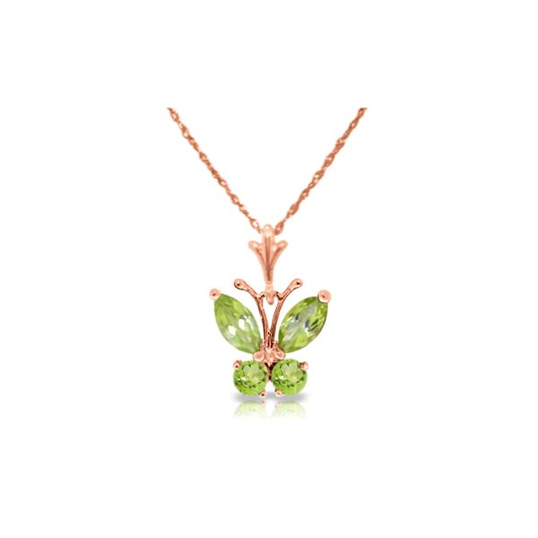 Genuine 0.60 ctw Peridot Necklace 14KT Rose Gold - REF-23R5P