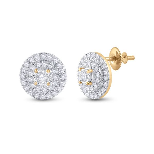 Round Diamond Circle Earrings 1/4 Cttw 10KT Yellow Gold