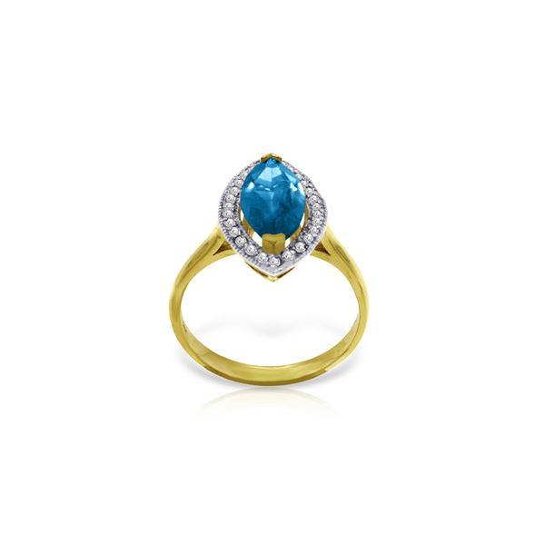 Genuine 2.4 ctw Blue Topaz & Diamond Ring 14KT Yellow Gold - REF-71P2H