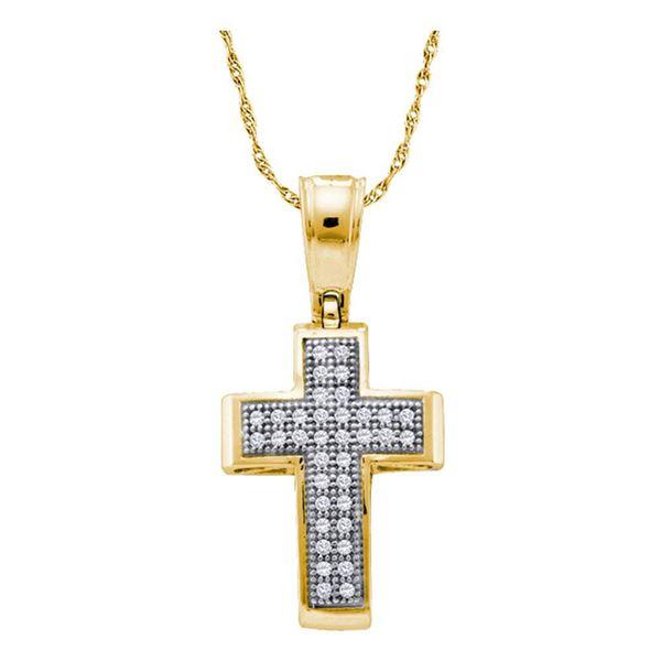 Round Diamond Cross Religious Pendant 1/10 Cttw 10KT Yellow Gold