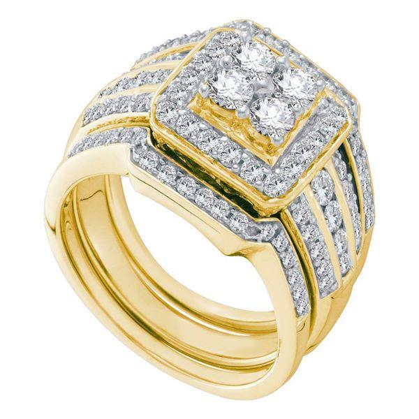 Diamond Bridal Wedding Ring Band Set 1-1/2 Cttw 14KT Yellow Gold