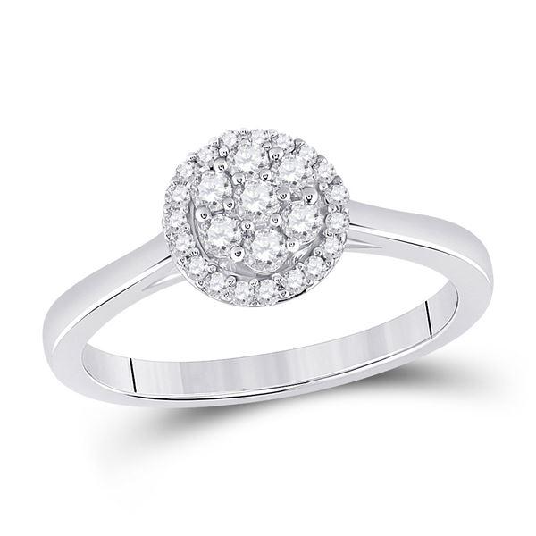 Round Diamond Flower Cluster Ring 1/3 Cttw 14KT White Gold