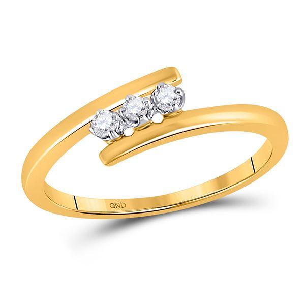 Diamond 3-stone Bridal Wedding Engagement Ring 1/10 Cttw 10KT Yellow Gold