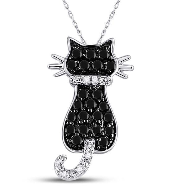 Round Black Color Enhanced Diamond Kitty Cat Pendant 1/3 Cttw 10KT White Gold