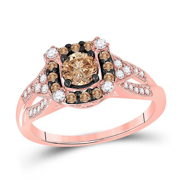 Brown Diamond Solitaire Bridal Wedding Engagement Ring 7/8 Cttw 14KT Rose Gold