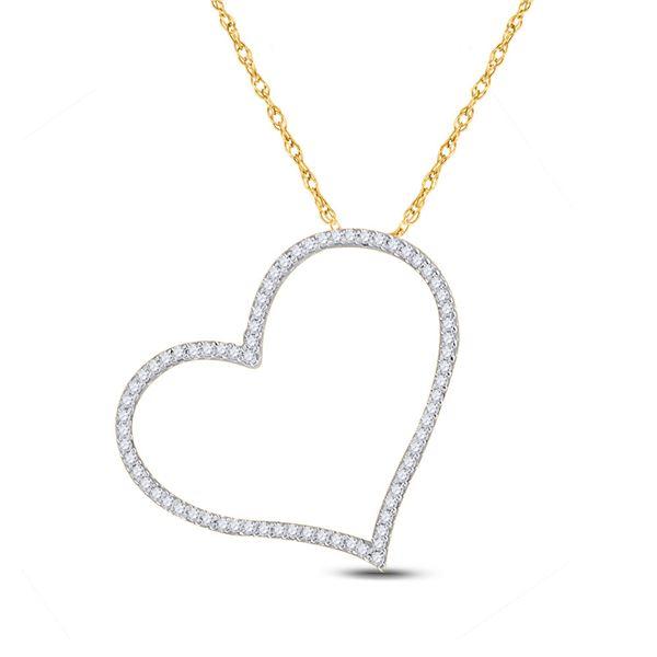 Round Diamond Heart Pendant 1/5 Cttw 10KT Yellow Gold