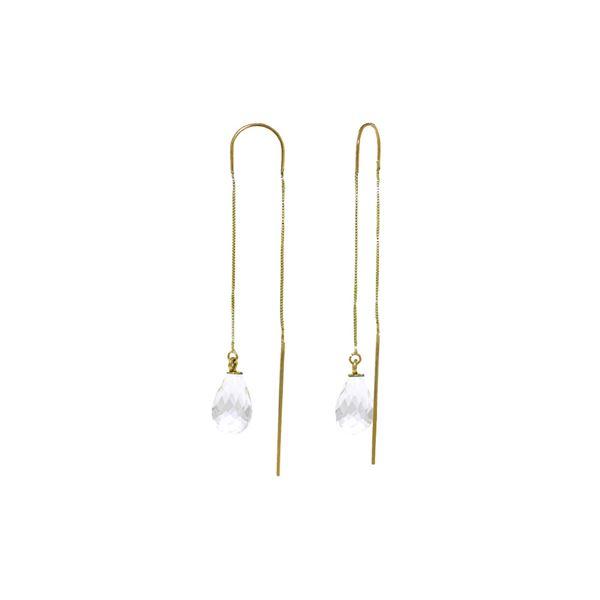 Genuine 4.5 ctw White Topaz Earrings 14KT Yellow Gold - REF-20W4Y