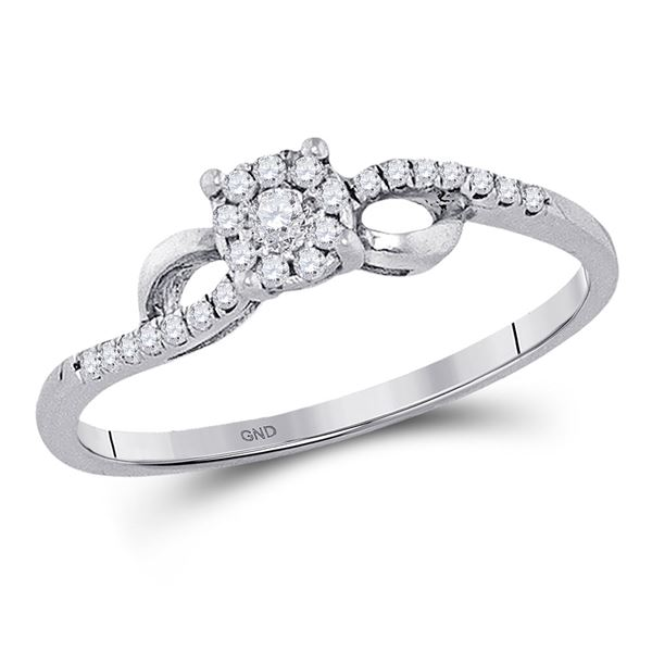 Round Diamond Cluster Promise Ring 1/10 Cttw 10KT White Gold