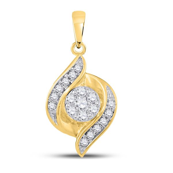 Round Diamond Flower Cluster Pendant 1/5 Cttw 14KT Yellow Gold