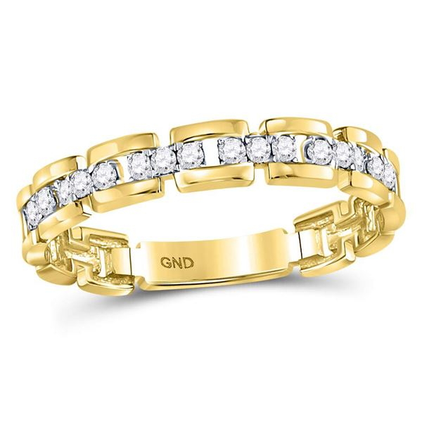 Round Diamond Rolo Link Stackable Band Ring 1/5 Cttw 10KT Yellow Gold