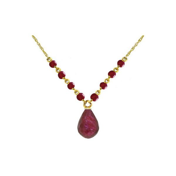 Genuine 15.8 ctw Ruby Necklace 14KT Yellow Gold - REF-37X2M