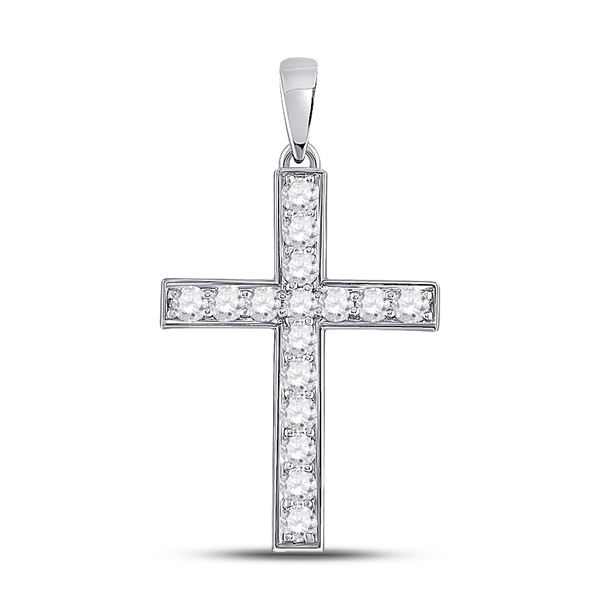 Round Diamond Cross Pendant 1/2 Cttw 10KT White Gold