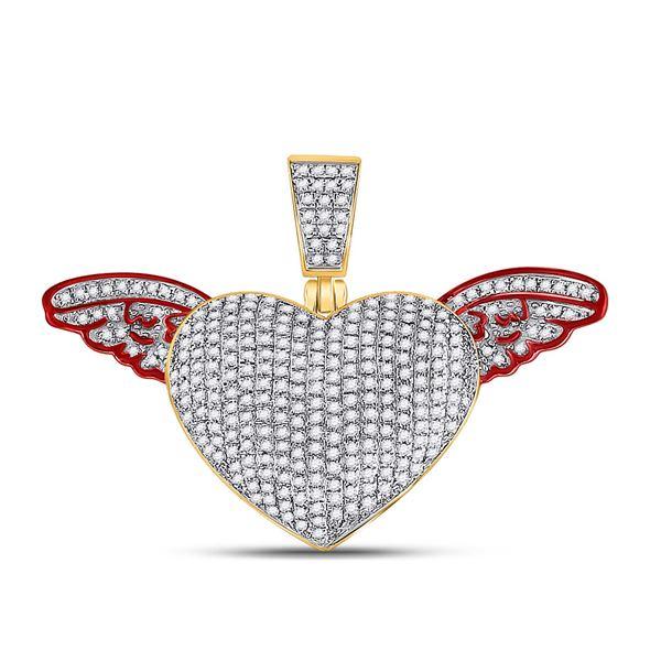 Round Diamond Winged Heart Charm Pendant 1 Cttw 10KT Yellow Gold