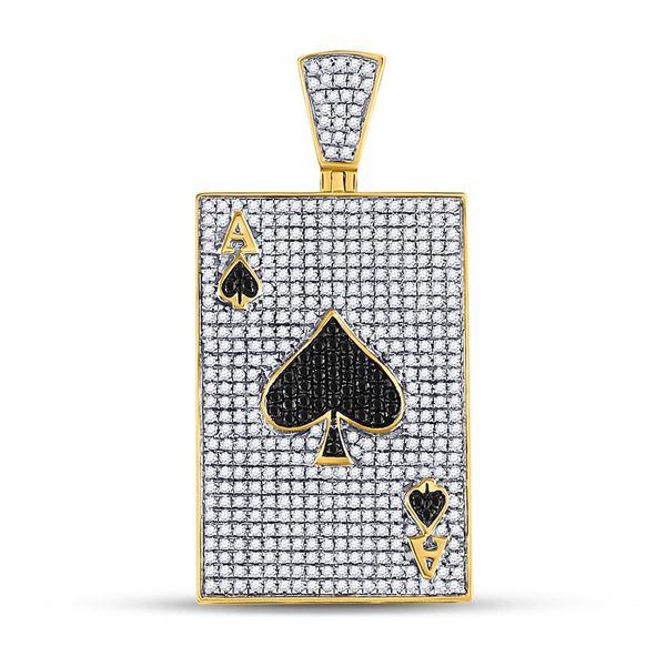 Round Black Color Enhanced Diamond Ace Spades Card Pendant 1-3/8 Cttw 10KT Yellow Gold