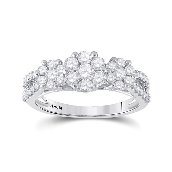 Round Diamond Triple Flower Cluster Ring 1 Cttw 14KT White Gold