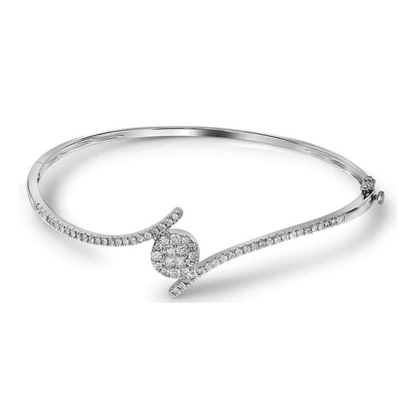Princess Round Diamond Bangle Bracelet 3/4 Cttw 14KT White Gold