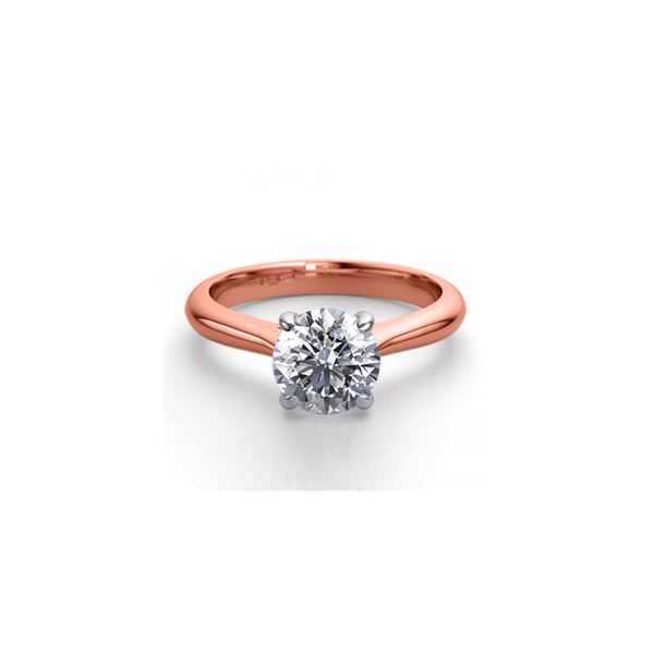 14K Rose Gold 0.83 ctw Natural Diamond Solitaire Ring - REF-203W4K