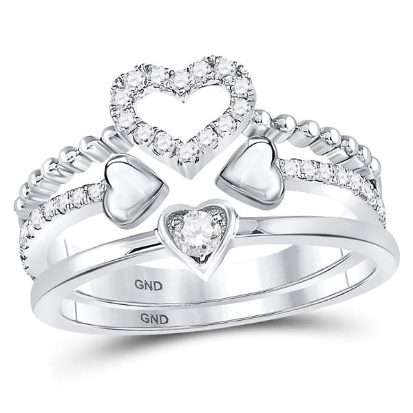Round Diamond 2-Piece Beaded Heart Band Ring Set 1/3 Cttw 14KT White Gold
