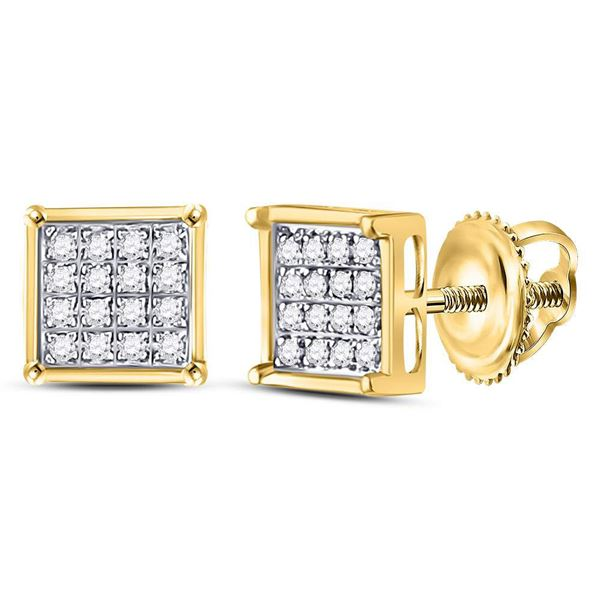 Round Diamond Square Earrings 1/10 Cttw 14KT Yellow Gold