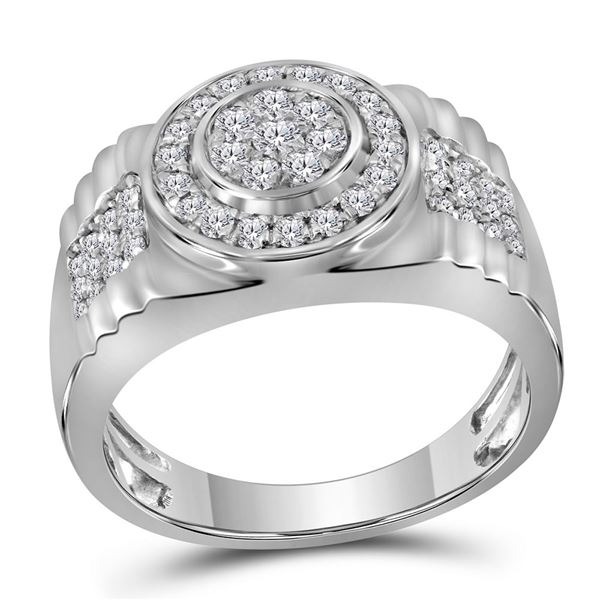 Round Diamond Ribbed Circle Cluster Ring 7/8 Cttw 10KT White Gold