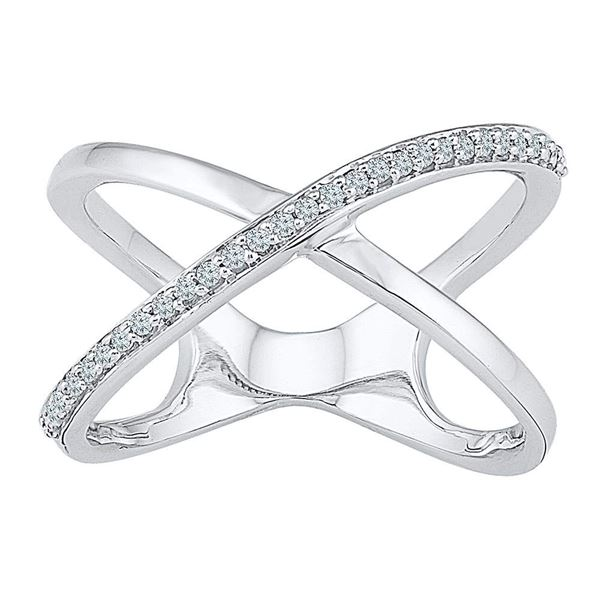 Round Diamond Open Crossover Band Ring 1/6 Cttw 10KT White Gold