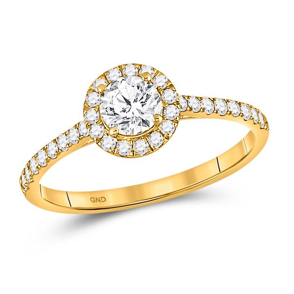 Diamond Halo Bridal Wedding Engagement Ring 3/4 Cttw 14KT Yellow Gold