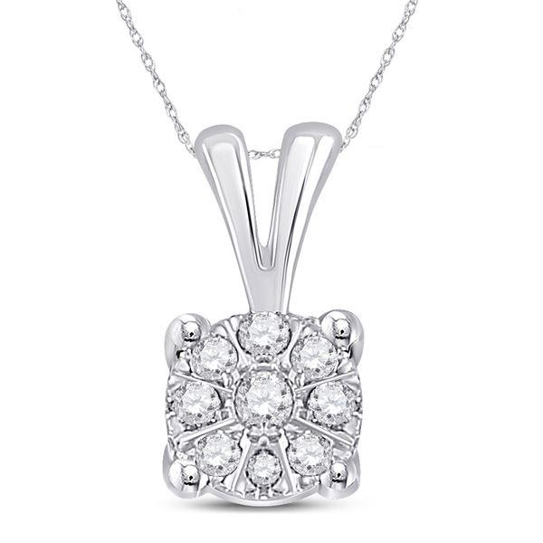 Round Diamond Cluster Pendant 1/12 Cttw 10KT White Gold