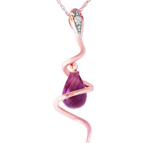 Genuine 2.28 ctw Amethyst & Diamond Necklace 14KT Rose Gold - REF-49H3X