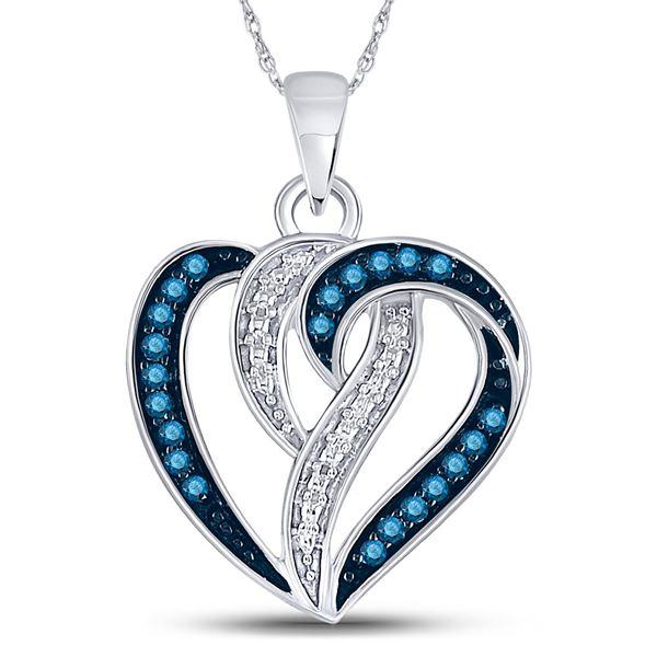 Round Blue Color Enhanced Diamond Heart Pendant 1/6 Cttw 10KT White Gold