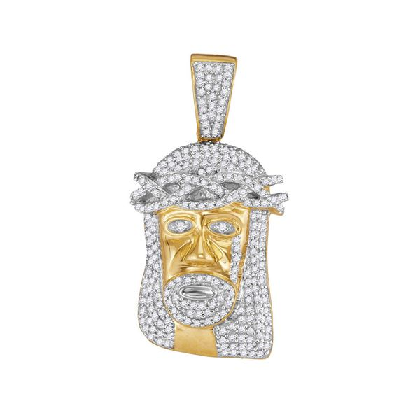 Round Diamond Jesus Face Charm Pendant 3/4 Cttw 10KT Yellow Gold
