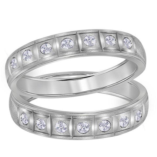 Diamond Matching Wedding Band Set 1/4 Cttw 14KT White Gold