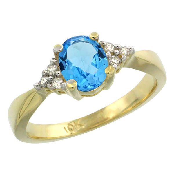 1.06 CTW Swiss Blue Topaz & Diamond Ring 14K Yellow Gold - REF-36X9M
