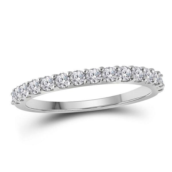 Round Diamond Wedding Single Row Band 1/2 Cttw 10KT White Gold