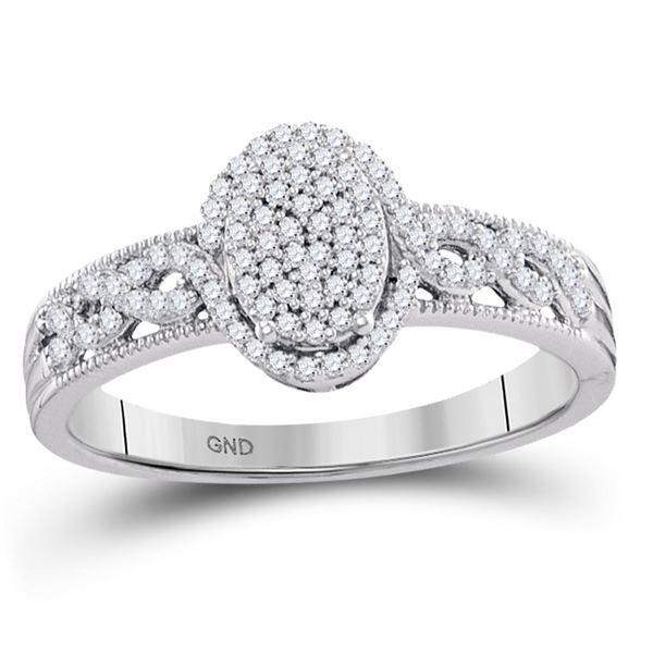 Diamond Oval Cluster Milgrain Twist Bridal Ring 1/4 Cttw 10KT White Gold