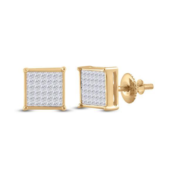 Princess Diamond Square Earrings 1/2 Cttw 14KT Yellow Gold