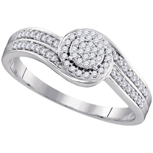 Round Diamond Swirl Cluster Ring 1/5 Cttw 10KT White Gold