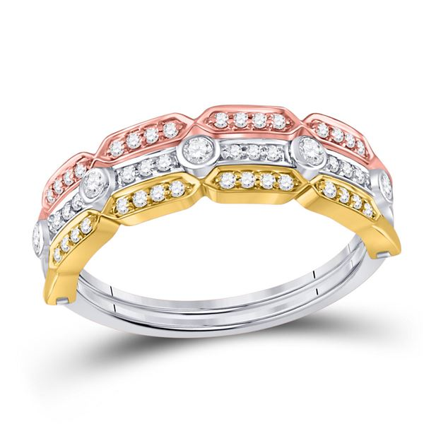 Round Diamond Convertible Stackable Band Ring 1/4 Cttw 14KT Tri-Tone Gold