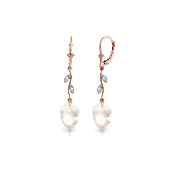 Genuine 24.52 ctw White Topaz & Diamond Earrings 14KT Rose Gold - REF-63R8P