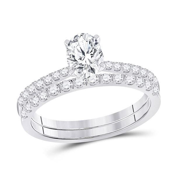 Bridal Wedding Ring Band Set 1-1/5 Cttw 14KT White Gold