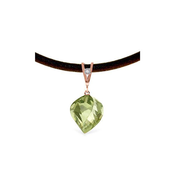 Genuine 13.01 ctw Green Amethyst & Diamond Necklace 14KT Rose Gold - REF-45P3H